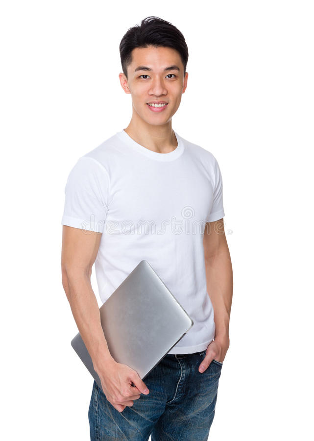 Download Tenuta Del Giovane Con Il Computer Portatile Immagine Stock - Immagine di maschio, signore: 55355515