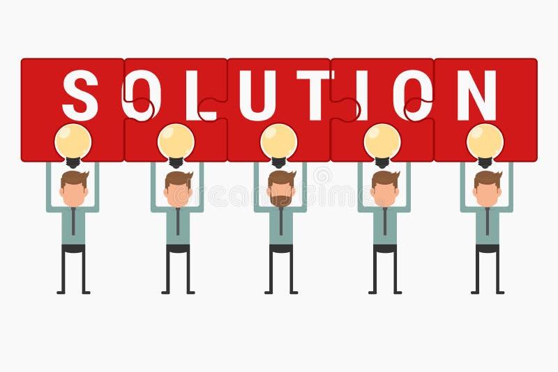 Tenuta del gruppo di affari e mostrare la soluzione di puzzle sopra l'idea della lampadina royalty illustrazione gratis