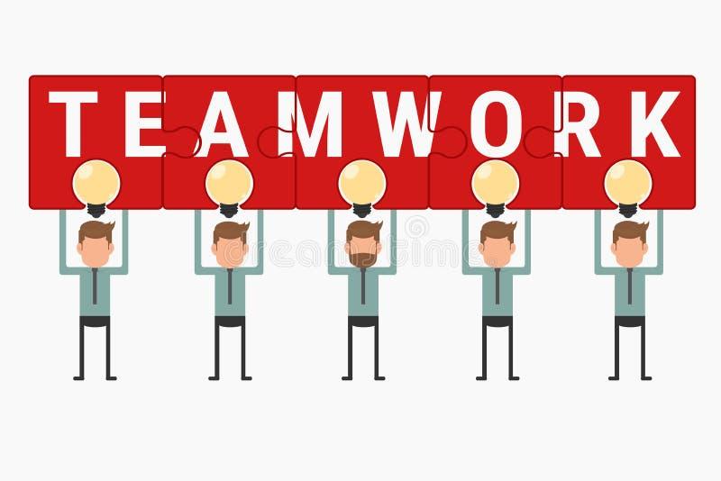 Tenuta del gruppo di affari e mostrare lavoro di squadra di puzzle sopra l'idea della lampadina illustrazione vettoriale