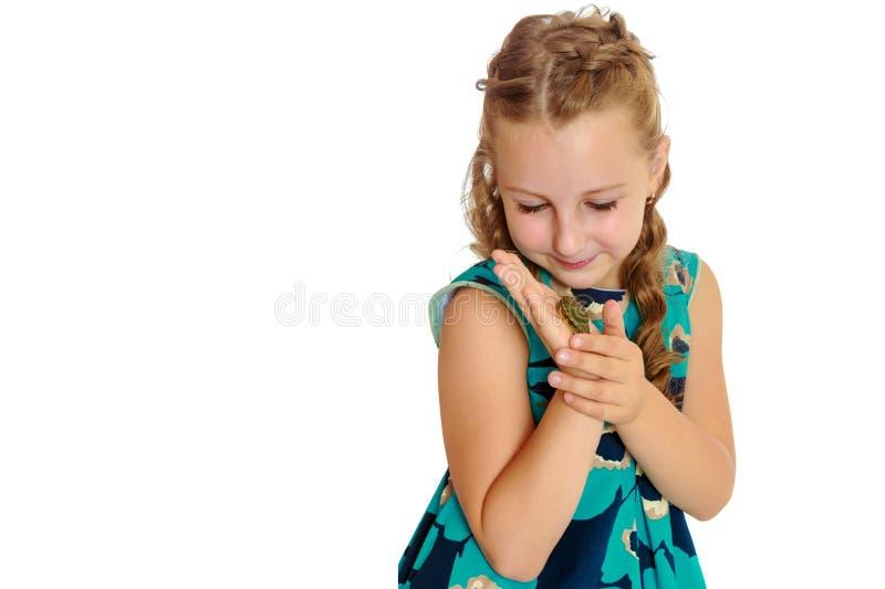 Tenuta della bambina in mani una piccola tartaruga immagini stock