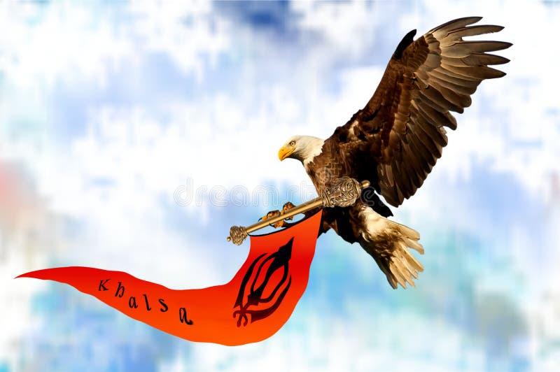 Tenuta della bandiera di Khalsa dall'aquila immagini stock libere da diritti