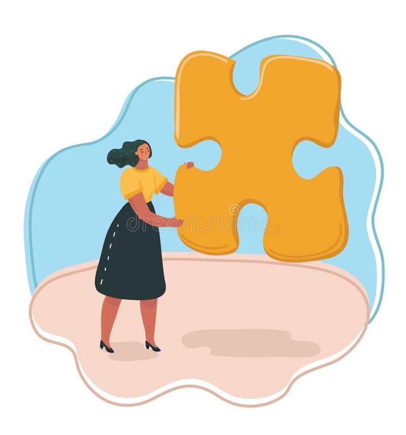 Tenuta della donna un puzzle illustrazione di stock