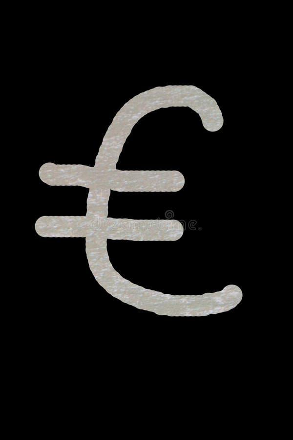 Tenuta della mano del ` s dell'uomo l'euro siluetta dell'icona contro il cielo blu e giallo soleggiato Raggi di Sun euro segno, s immagini stock