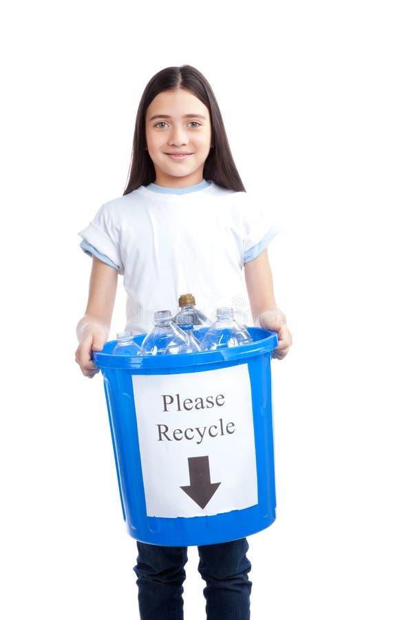 Tenuta della ragazza che ricicla busbana francese residua fotografie stock libere da diritti