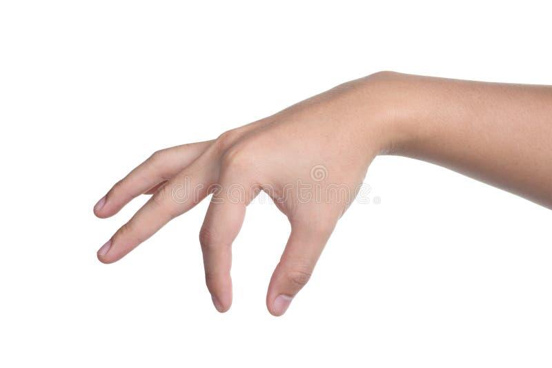 Tenuta della scelta di posizione del segno della mano isolata fotografia stock
