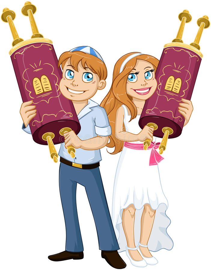 Tenuta ebrea Torah della ragazza e del ragazzo per il bat mitzvah di Antivari illustrazione di stock