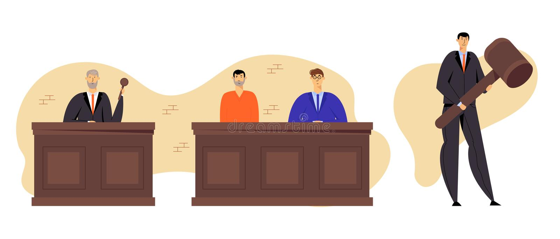Tenuta Gavel dell'abito di Grey Haired Judge Wearing Black Uomo accusato in abito della prigione che si siede con l'avvocato Lawy royalty illustrazione gratis