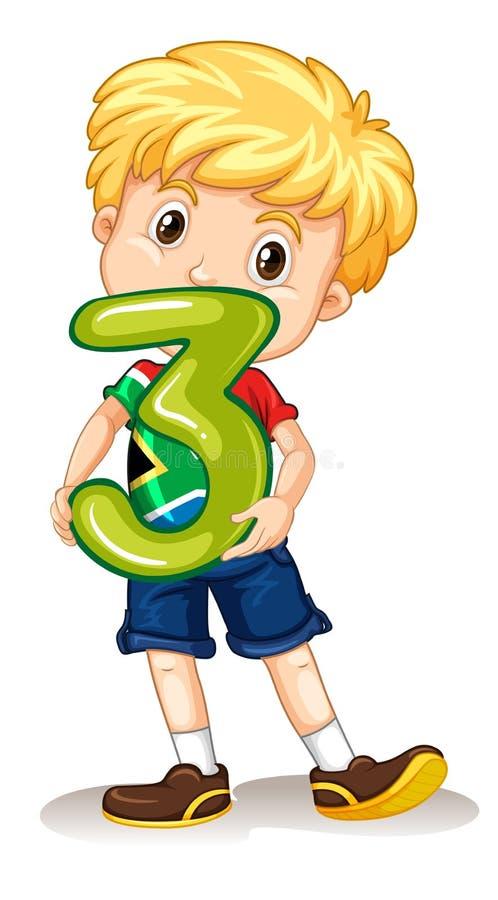 Tenuta numero tre del ragazzo illustrazione di stock