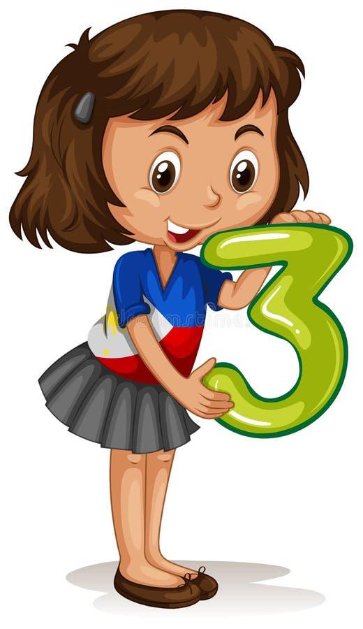 Tenuta numero tre della bambina royalty illustrazione gratis