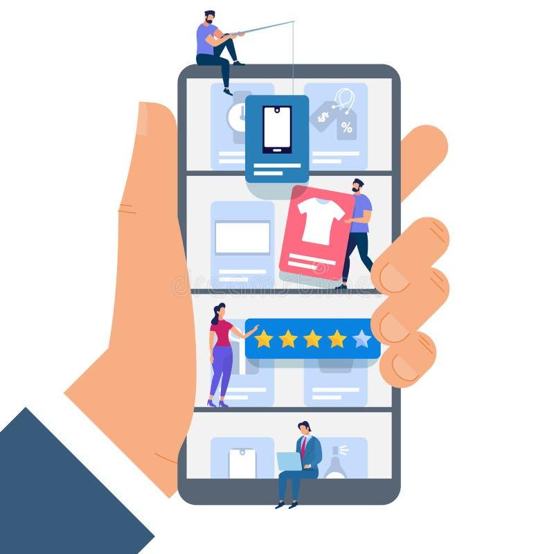 Tenuta Smartphone della mano con la gente minuscola Acquisto illustrazione vettoriale