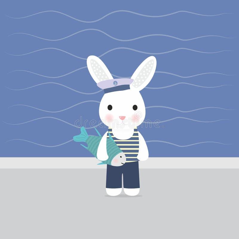 Tenute del marinaio del coniglietto nel pesce delle zampe royalty illustrazione gratis