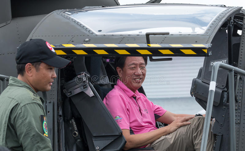 Teo Chee Hean, zastępca ministra Singapur, przy Singapur Airshow 2016 zdjęcie stock