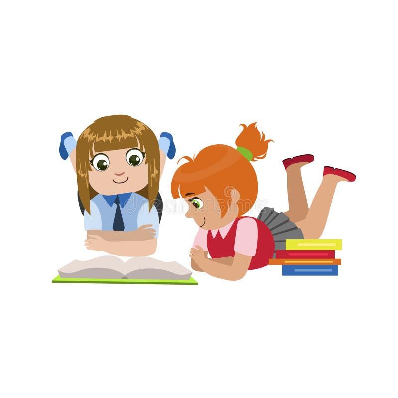 Teo Girls Reading One Book ilustração do vetor
