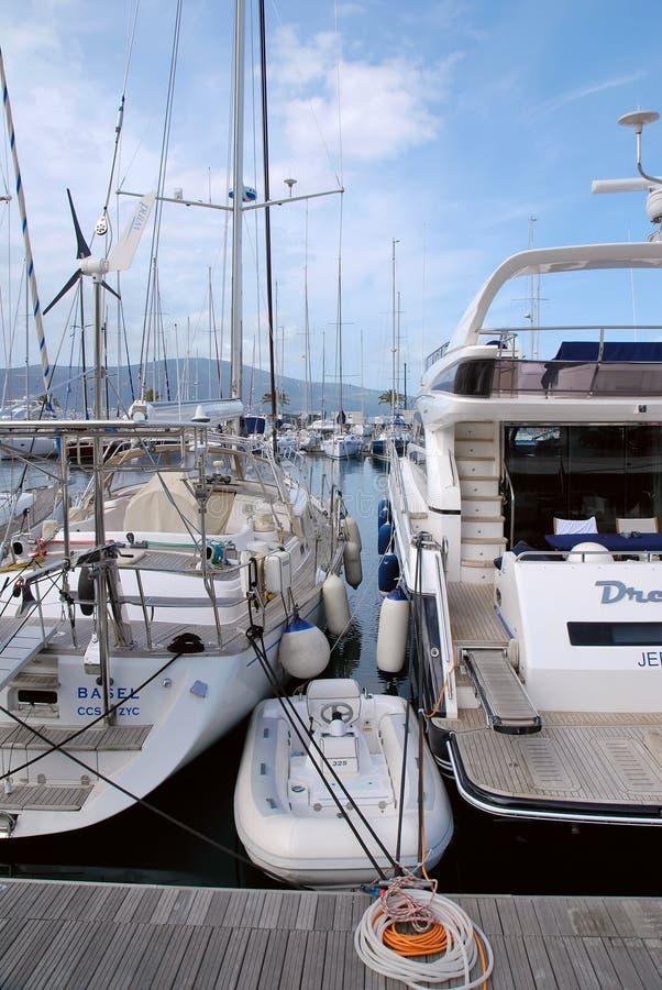 Teodo Oporto Montenegro yachts fotografia stock libera da diritti