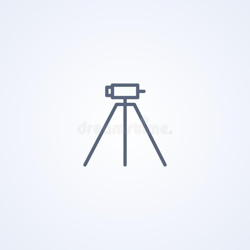 Teodolito en el trípode, estudio geológico, ingeniería, equipo geodésico, investigación de la geología, la mejor línea gris icono stock de ilustración