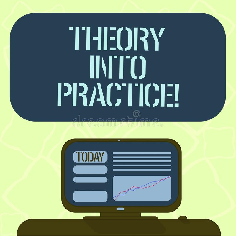 Teoría de la escritura del texto de la escritura en práctica El concepto que significa las manos en el aprendizaje aplica conocim ilustración del vector