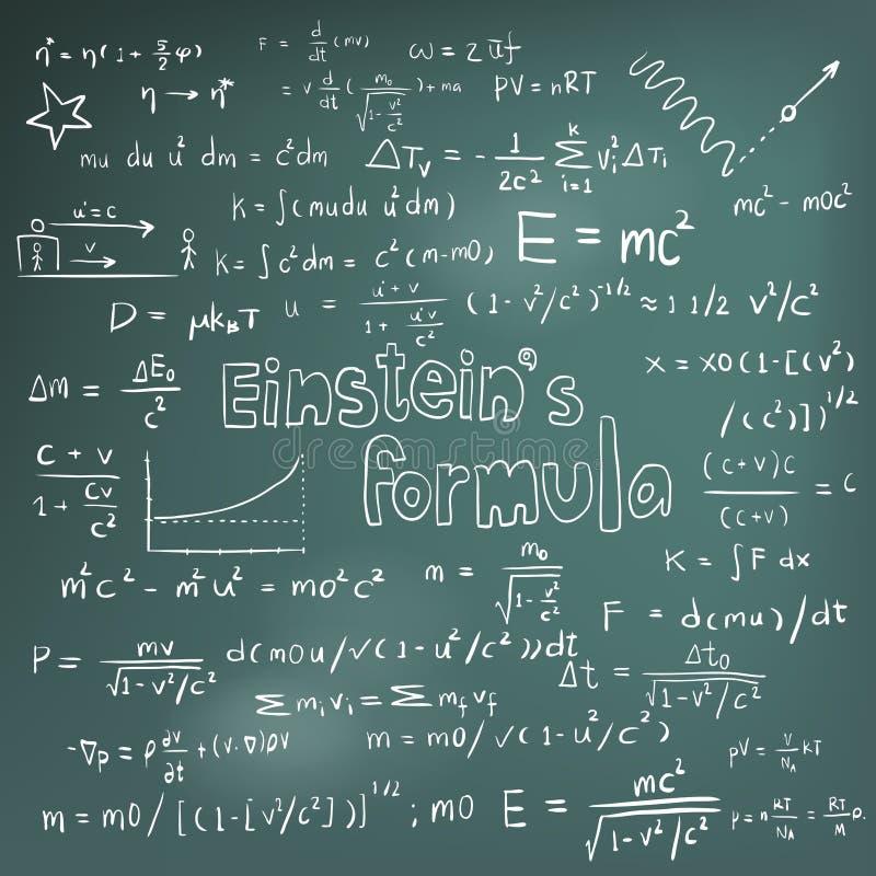 Teoría de la ley de Albert Einstein y equa de la fórmula matemática de la física stock de ilustración