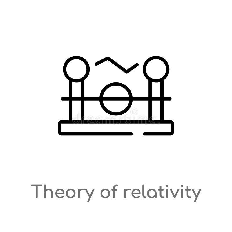 teoría del esquema del icono del vector de la relatividad línea simple negra aislada ejemplo del elemento del concepto de la educ stock de ilustración