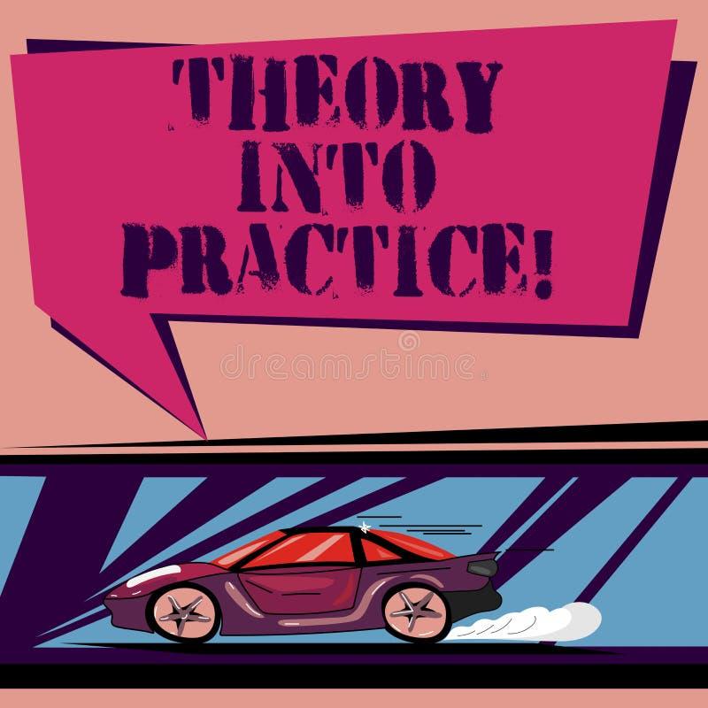 Teoría del texto de la escritura en práctica El concepto que significa las manos en el aprendizaje aplica conocimiento en coche r ilustración del vector