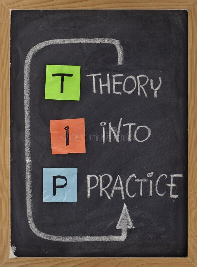 Teoría en la práctica - siglas del TIP imagen de archivo libre de regalías