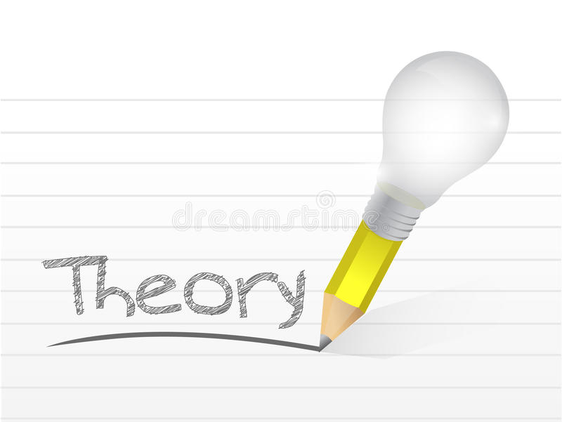 Teoría escrita con un lápiz de la idea de la bombilla stock de ilustración