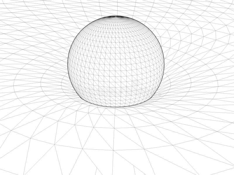 Teoría general de la red del alambre de Einstein del vector 01 de la estructura de la relatividad ilustración del vector