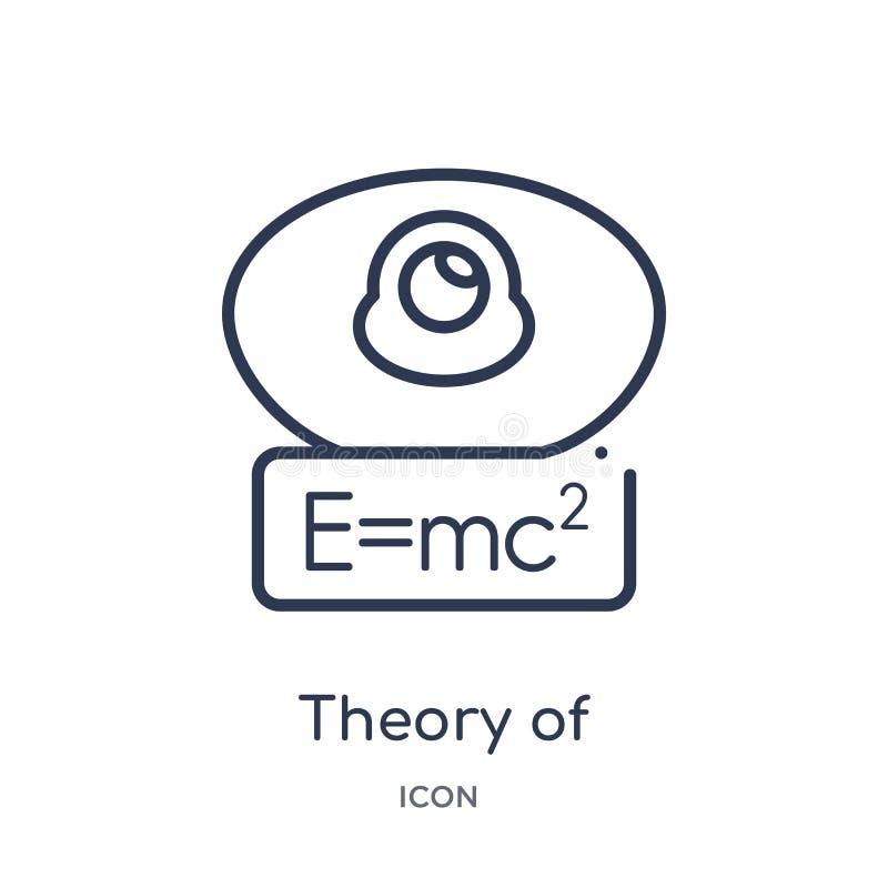 Teoría linear del icono de la relatividad de la colección del esquema de la educación Línea fina teoría de icono de la relativida stock de ilustración