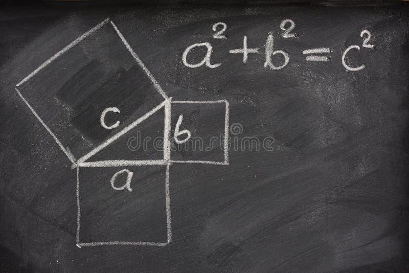 Teorema pitagorico sulla lavagna fotografia stock libera da diritti