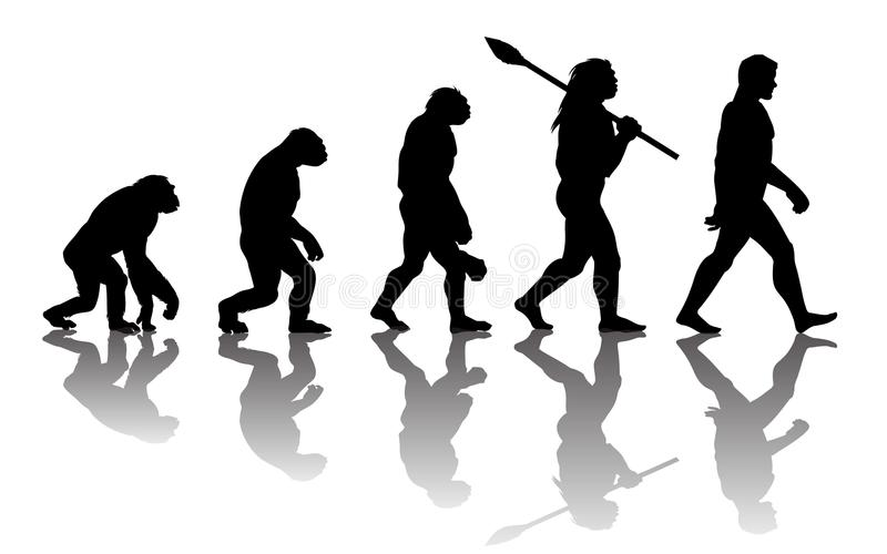 Teori av evolution av mannen vektor illustrationer