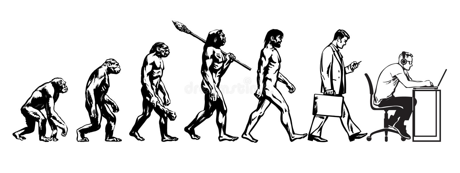 Teori av evolution av mannen vektor illustrationer