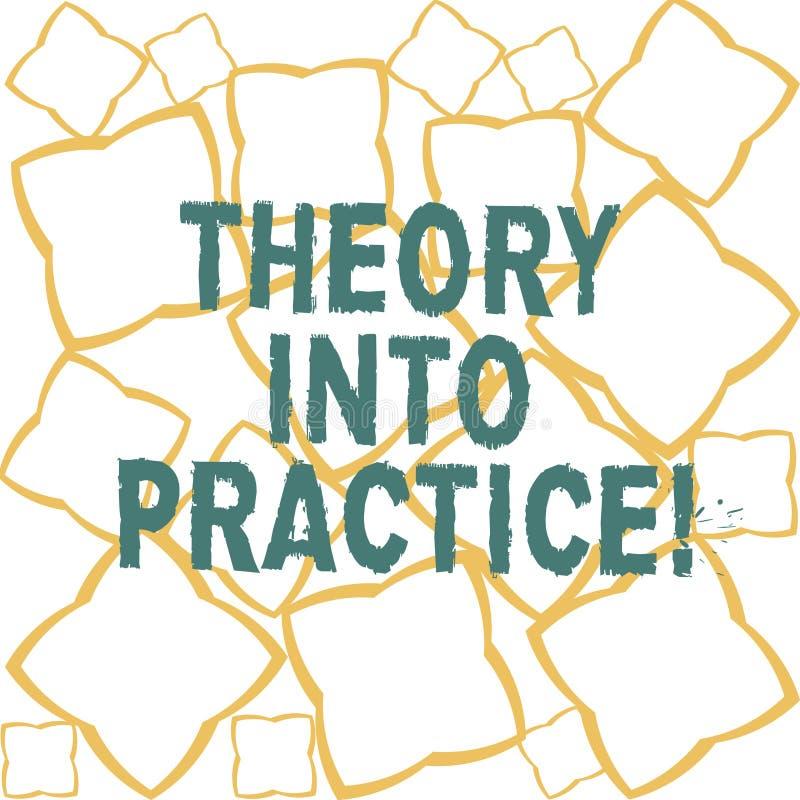 Teoria del testo della scrittura in pratica Il concetto che significa le mani sull'apprendimento applica la conoscenza nel nastro royalty illustrazione gratis