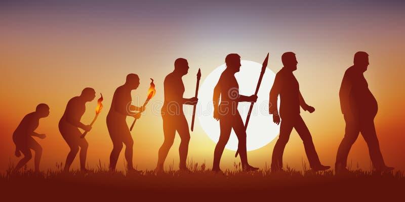 Teoria dell'evoluzione della conclusione umana della siluetta di Darwin's nella siluetta di un uomo obeso illustrazione di stock