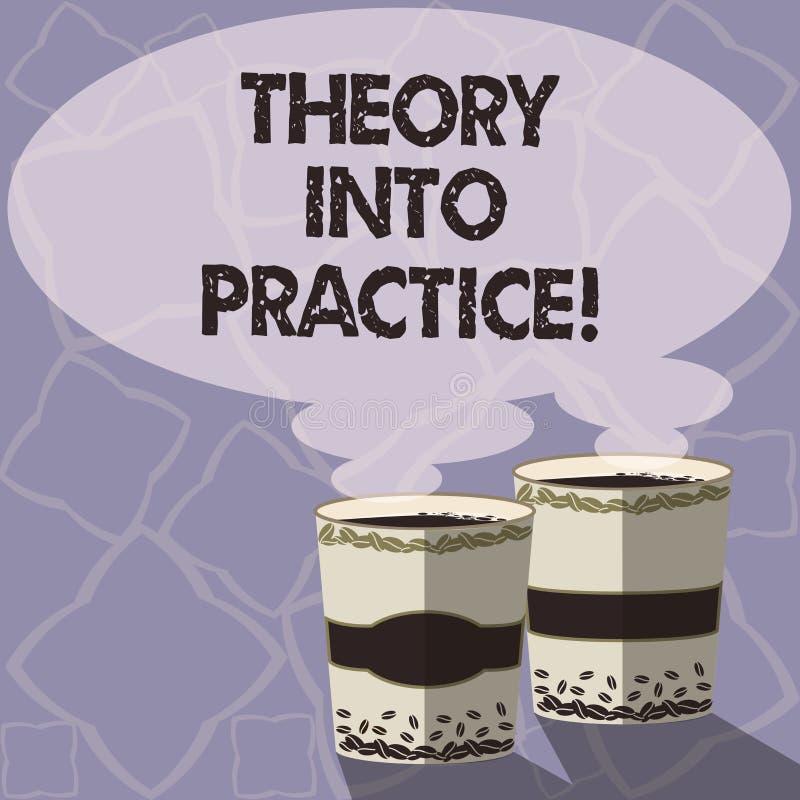 Teoria di scrittura del testo della scrittura in pratica Il concetto che significa le mani sull'apprendimento applica la conoscen illustrazione vettoriale