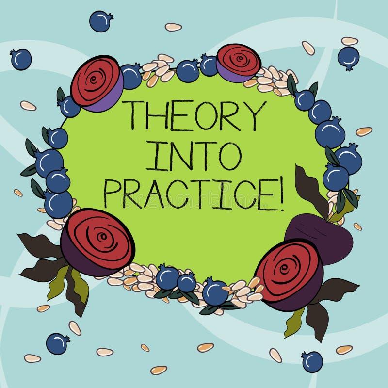 Teoria di scrittura del testo della scrittura in pratica Il concetto che significa le mani sull'apprendimento applica la conoscen illustrazione di stock