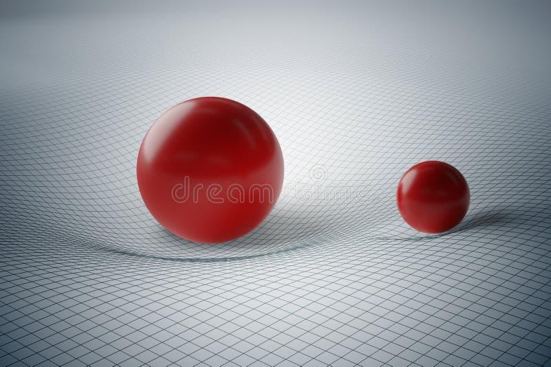 Teoria geral do conceito da relatividade Distorção da geometria do spacetime causada pela gravidade de esferas maciças ilustração royalty free