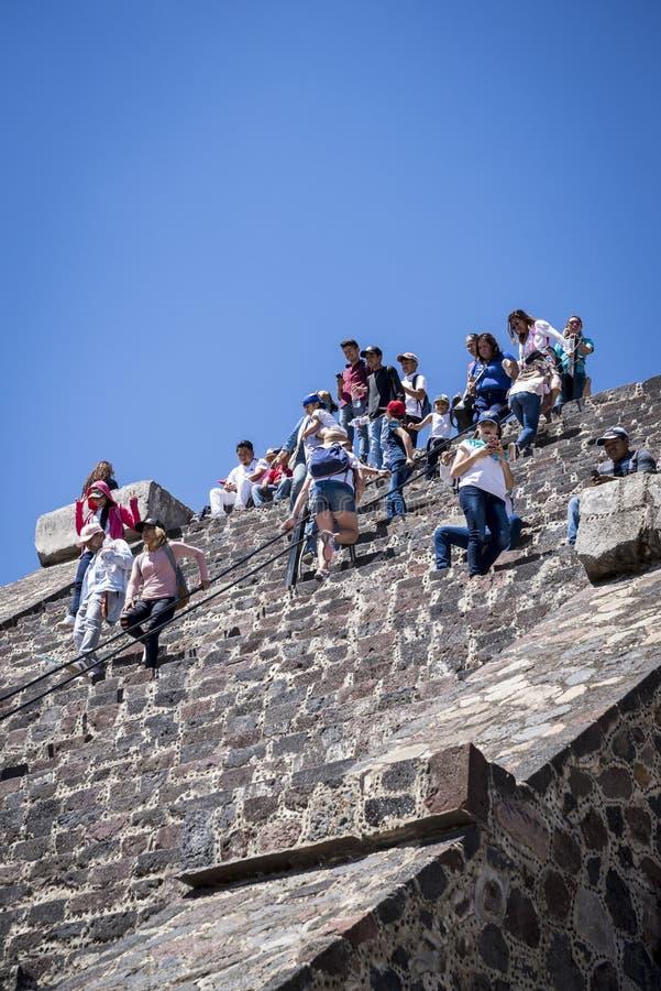 teotihuacan月亮的金字塔 特奥蒂瓦坎,墨西哥城,墨西哥 库存图片