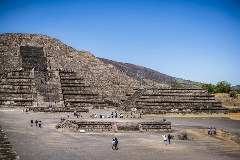 teotihuacan月亮的金字塔 特奥蒂瓦坎,墨西哥城,墨西哥 免版税库存图片