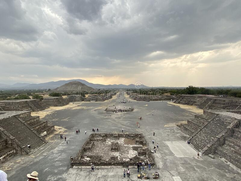Teotihuacan city view. A view of the ancient city of Teotihuacan from one of the pyramids stock image