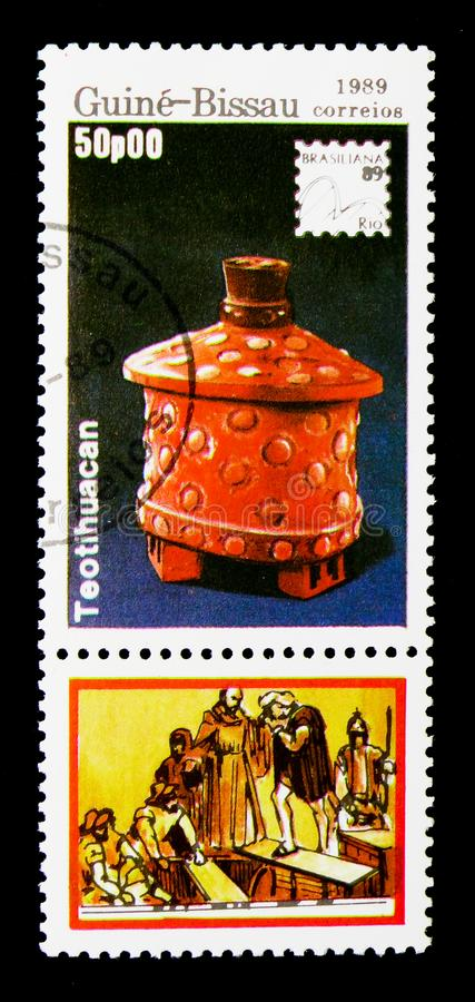 Teotihuacan, International Philatelic Exhibition - 89 Brasiliana serie, circa 1989. MOSCOW, RUSSIA - DECEMBER 21, 2017: A stamp printed in Guinea-Bissau shows stock photography