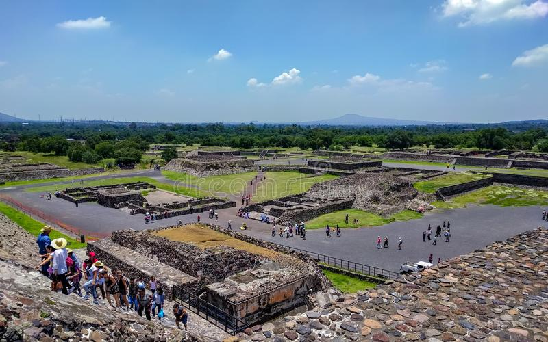Plaza view below the Sun Pyramid. Teotihuacan. royalty free stock photography