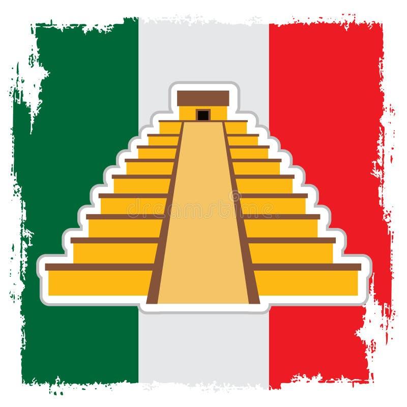 Teotihuacan no fundo da bandeira mexicana Pir?mide do Sun e pir?mide da lua Logotipo mexicano das vistas ilustração royalty free