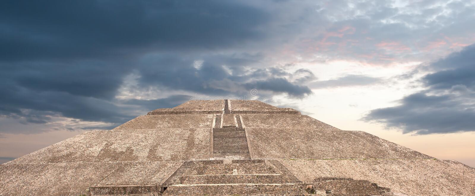 Teotihuacan pyramid of the sun. Mexico stock image