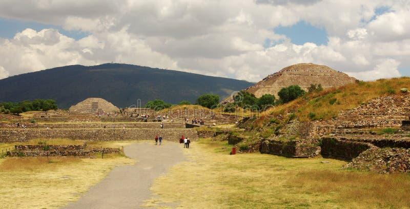 Teotihuacan Sun and Moon pyramids royalty free stock photo