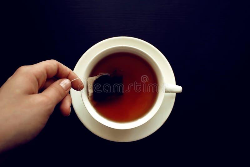 Tepåse in i en vit kopp fotografering för bildbyråer