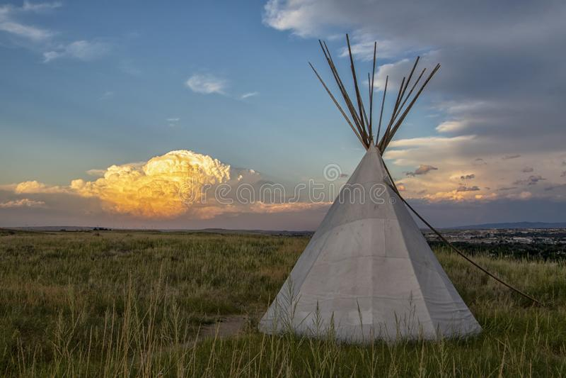 Indian tepee set near Casper, Wyoming stock photo
