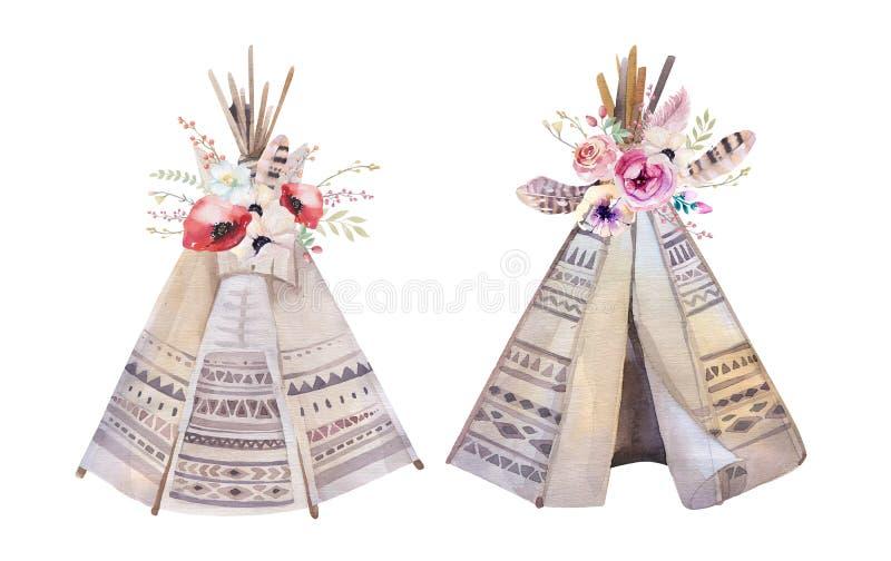 Tepee tribale dell'acquerello disegnato a mano, campeggio bianco isolato dieci immagini stock