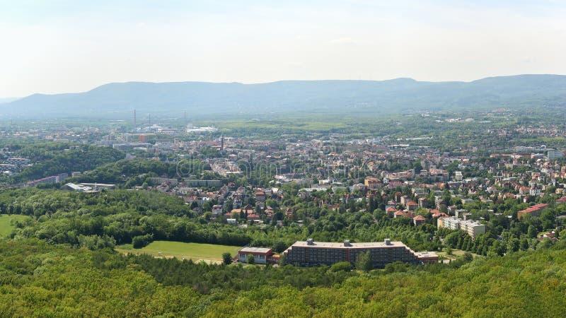 Teplice Tjeckien - Maj 23, 2019: tjeckisk stad av Teplice i v?r arkivfoton