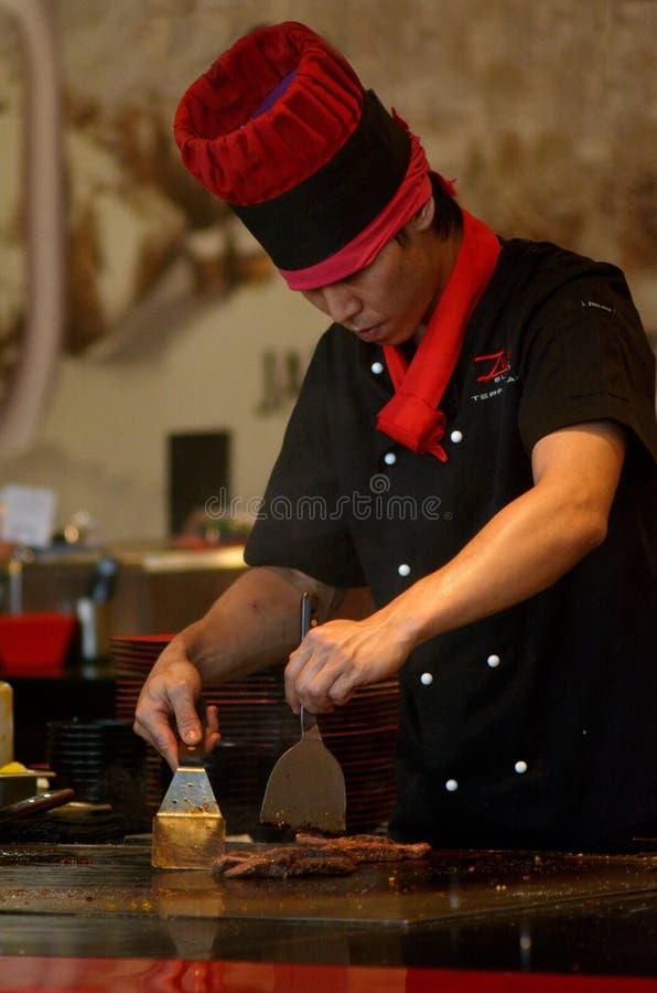 Teppanyaki厨师 免版税库存图片