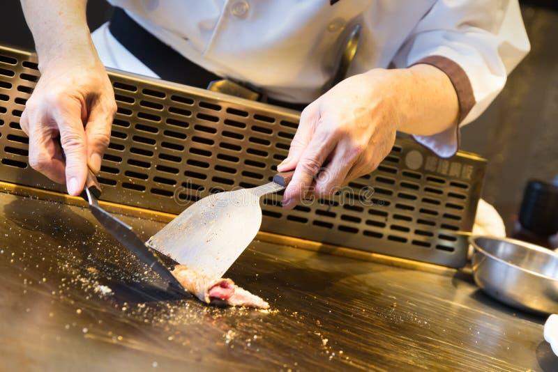 Teppanyaki japansk plattakock arkivfoto
