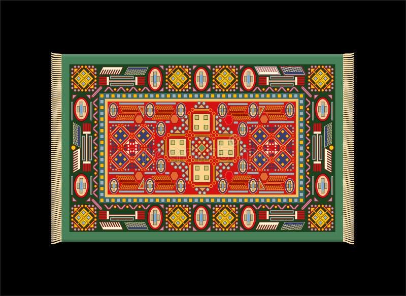 Teppich-grünes Rot stock abbildung